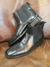 Prada italian Men ankle pull up black leather boots size 9.5