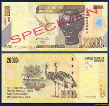 2012 CONGO REPUBLIC SPECIMEN BANKNOTE 20000 FRANCS UNC GIRAFFE GREY CRANE BIR