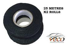 Autoadhesivo Textil Toalla Polar arnés Cinta Juego de cables 19mm 25metre 2X