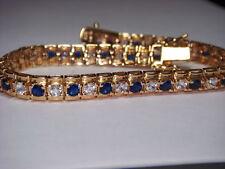 "Bracelet Tennis STERLING SILVER Vintage WM blue sapphire white topaz 7"""