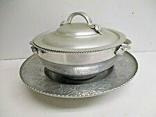 Vintage Everlast Hand Forged Aluminum Lazy Susan & Serving Bowl w/ Handles & Lid