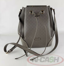 BIGSALE! AUTHENTIC $1750 GUCCI Gray Diamante Textured Leather Bucket Bag