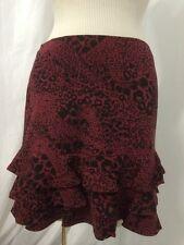 DKNY Red Silk Animal Print Mini Tiered Women's Skirt Size 8 New! $255