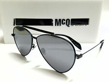 Authentic Alexander McQueen AM0058S 001 Black/Silver Mirror Lens 63mm Sunglasses