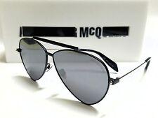 Authentic Alexander McQueen AM0058S 001 Black/Silver Mirror Lens 63mm Sunglasses