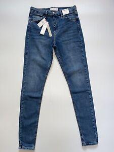 Topshop Jamie High Waisted Skinny Blue Denim Jeans 4 6 8 10 12 14 16 18 All L34