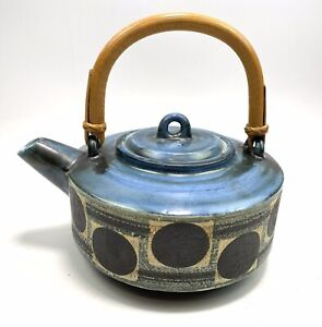 TROIKA Cornwall Teapot With bamboo Handle 1970's Hilary Cox Collectors Item RARE