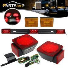 Submersible Trailer LED Light Kit,Stop Turn Tail,License,Red 9 LED ID Bar Marker