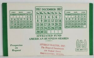 Harrisburg Pa Itterly-Walter Inc House of Invest 1957 Affiliated Fund Blotter O9