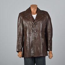 39R 1970s Mens Brown Leather Jacket Partial Plush Liner Belt Back Fall 70s VTG
