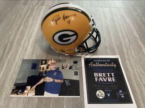 Brett Favre Auto/Signed Riddell Mini Helmet w/COA & Favre Hologram - Packers