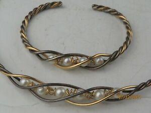Sterling Silver 925 GF Freshwater Pearls handmade choker & bracelet