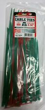 """Pro Tie Zip Ties 100 Count Cable Green & Red Assorted Lengths Cable Ties 4-14"""""""