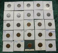 1/2 Roll of Indian Head Cents, 25 Coins, Mixed Date 1 Cent Coins, Good Mix