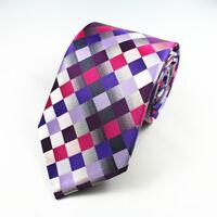 Purple Tie Blue Pink Silver Grey Check Patterned Handmade 100% Silk Necktie