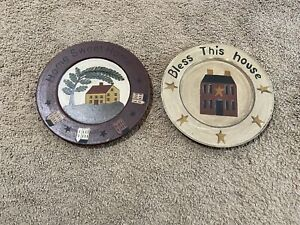 """Farmhouse Primitive Rustic Wood 2 Plates Lot Hand-painted Bless this House 9.5"""""""