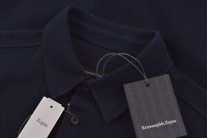 $495 NWT Ermenegildo Zegna Size US 38 Small Dress Shirt Polo Navy Current New