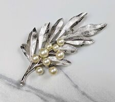 Lovely Silver-tone Olive branch Design Brooch from Trifari Jewellery