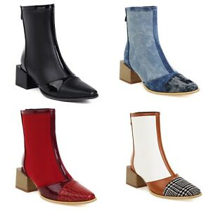 Women's Mid Heel Zip Ankle Boots Fashion Patchwork Faux Leather Square Toe Shoes