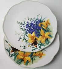 2 Floral Meadow Daylily Lenox Dinner Plates Bird Insects Scalloped Green Trim