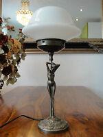 Tischlampe Jugendstil Antik Tischleuchte Jungfrau Pilz Lampe Messing Glas Edel