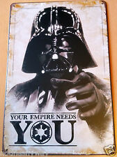 "Large Tin Sign Star Wars DARTH VADER ""Your Empire Needs You"" Sci Fi Last Jedi UK"