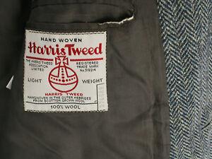 HARRIS TWEED LIGHT WEIGHT GRAY HERRINGBONE BLAZER COAT SUIT JACKET MEN'S 42R