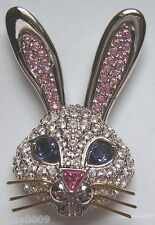 Signed Swan Swarovski Pave Rabbit Big Ears Big Blue Eyes Brooch Pin