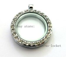 Glass Locket For Floating Charms Necklace 1pc 30mm Crystal Round Living Memory
