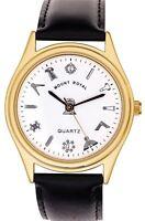 Smooth Leather Gents Masonic Wrist Watch Black - White Face Quartz - Gift Box