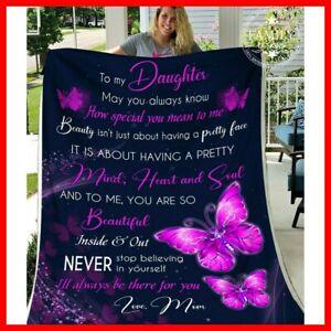 Purple Butterfly Fleece Blanket For Daughter From Mom  Blankets Gift