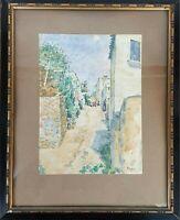 ALELLA RUE. AQUARELLE SUR PAPIER. JULIAN DEL POZO Y LA TORRE. 1907