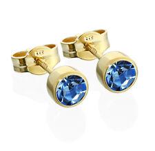 Paar Ohrstecker Gold 333er 4,50mm hellblau Zirkonia Damen Herren Kinder 6601