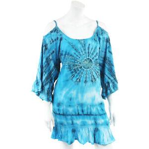 Tie Dye Turquoise Shoulder Detail Top, Dress - Fair trade Hippy Boho ML Festival