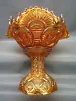 Imperial TWINS Dark Marigold Carnival Glass Ruffled Fruit Bowl & Stand 7204