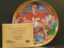 1990 SPORTS IMPRESSIONS JOE MONTANA NFL PLATE GOLD EDITION 1st in Series w/ COA