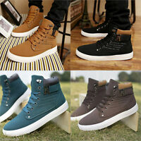 Novel Males Canvas Ankle Boots Winter Casual Martin Boots Lace-up Board Shoes QP
