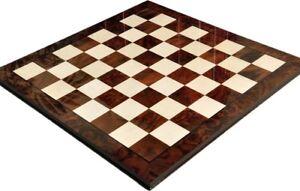 "Walnut Burl & Maple Superior Traditional Chess Board 2.5"" Squares - Gloss Finish"