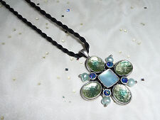 Lia Sophia Bloommates Mother of Pearl MOP Blue Green Cut Crystals Black Necklace