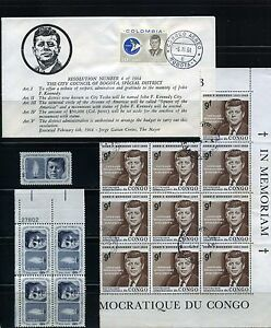 JOHN F. KENNEDY OF COLOMBIA,-''SHOW''  F.D.C. BKLT OF 4,-  pair - MNH- USED 1964