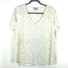 Women's Per Una Short Sleeve Top Blouse Ivory with Floral Pattern  UKSz20 (Used)