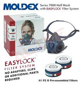 MOLDEX 7002 Reusable Half Mask Respirator + 9120 A2P3 R Particulate Gas Filters