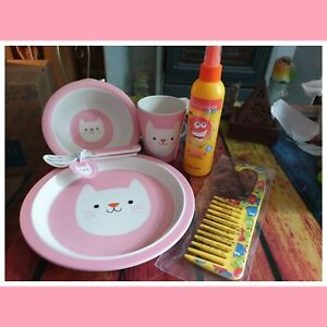 Kids Cookie The Cat Bamboo Dinner Gift Set with Avon Detangling Spray