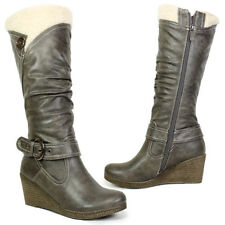 Synthetic Leather Block Heel Mid-Calf Boots for Women