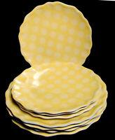 YELLOW POLKA DOT EVERYDAY PLASTIC PLATES ~ 4 DINNER & 4 SALAD PLATES ~ FREE SHIP