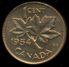 1954 Canada Queen Elizabeth II, Small Cent, Red