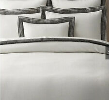 Restoration Hardware Milou Embroidered Linen Duvet Cover - Full/Queen, Ivory/Blk