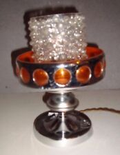 lampe vintage en acier bulle en plastique orange tulipe verre
