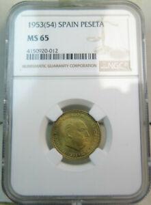 1953(54) Spain peseta NGC MS65 *scarce!* BR