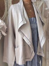 OSKA Designer ~ Unique/Quirky Lagenlook Asymmetric Linen Jacket / Overcoat ~Sz 2